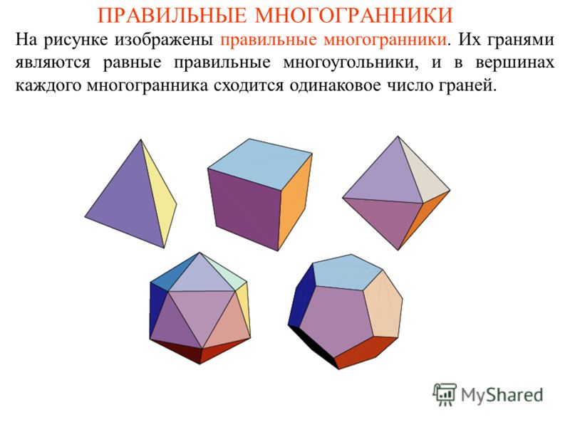 ПРАВИЛЬНЫЕ МНОГОГРАННИКИ На рисунке изображены правильные многогранники. Их гранями являются равные правильные многоугольники, и в вершинах каждого многогранника сходится одинаковое число граней.