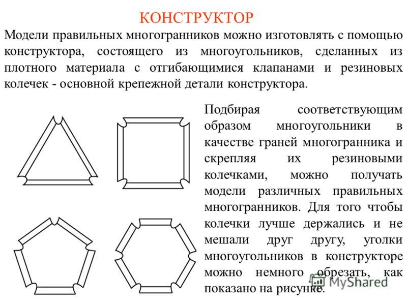 КОНСТРУКТОР Модели правильных многогранников можно изготовлять с помощью конструктора, состоящего из многоугольников, сделанных из плотного материала с отгибающимися клапанами и резиновых колечек - основной крепежной детали конструктора. Подбирая соо