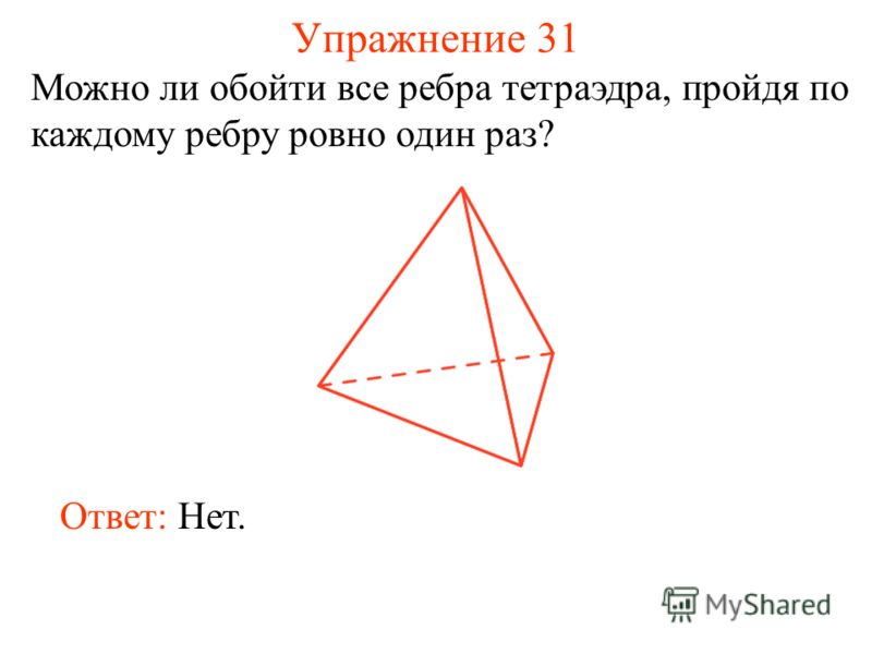 Упражнение 31 Можно ли обойти все ребра тетраэдра, пройдя по каждому ребру ровно один раз? Ответ: Нет.