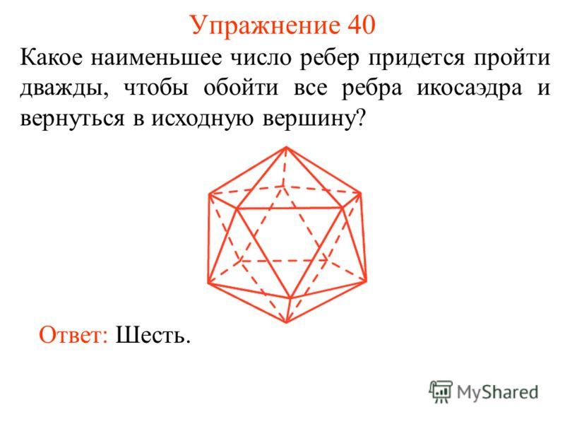 Упражнение 40 Какое наименьшее число ребер придется пройти дважды, чтобы обойти все ребра икосаэдра и вернуться в исходную вершину? Ответ: Шесть.