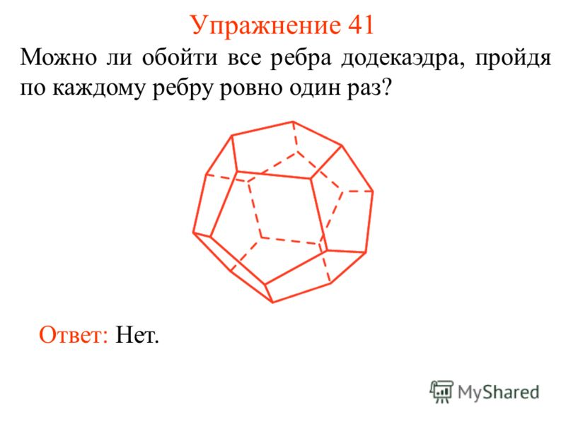 Упражнение 41 Можно ли обойти все ребра додекаэдра, пройдя по каждому ребру ровно один раз? Ответ: Нет.