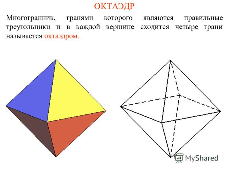ОКТАЭДР Многогранник, гранями которого являются правильные треугольники и в каждой вершине сходится четыре грани называется октаэдром.