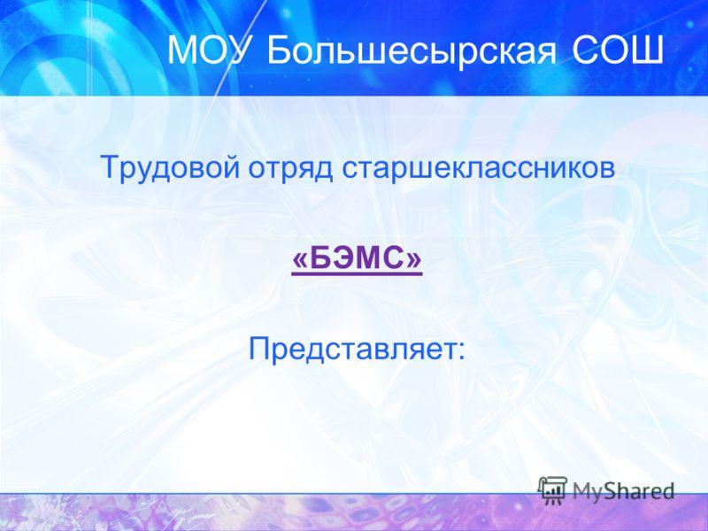 МОУ Большесырская СОШ Трудовой отряд старшеклассников «БЭМС» Представляет: