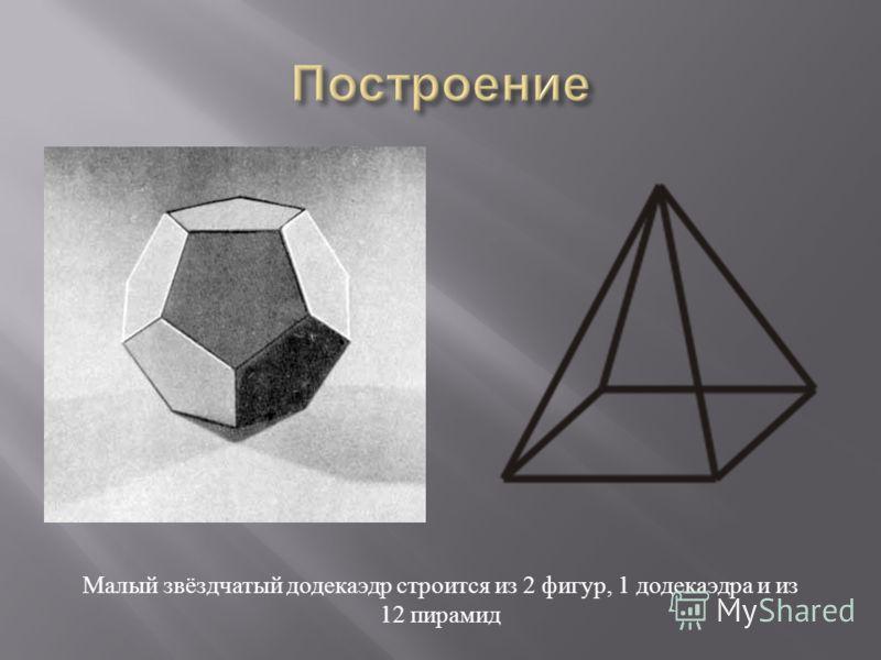 Малый звёздчатый додекаэдр строится из 2 фигур, 1 додекаэдра и из 12 пирамид