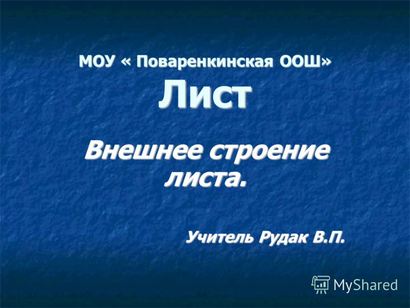 МОУ « Поваренкинская ООШ» Лист Внешнее строение листа. Учитель Рудак В.П.