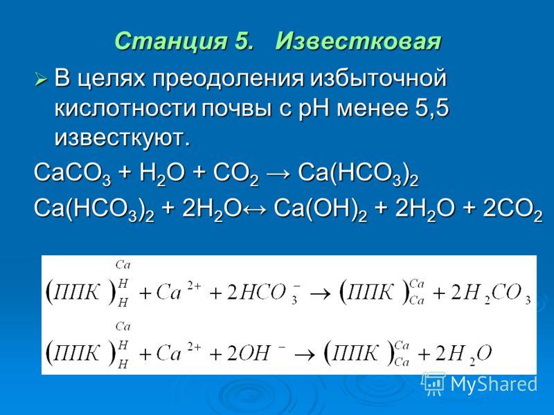 Станция 5. Известковая В целях преодоления избыточной кислотности почвы с pH менее 5,5 известкуют. В целях преодоления избыточной кислотности почвы с pH менее 5,5 известкуют. CaCO 3 + H 2 O + CO 2 Ca(HCO 3 ) 2 Ca(HCO 3 ) 2 + 2H 2 O Ca(OH) 2 + 2H 2 O