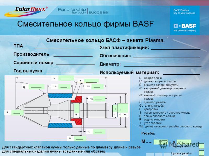 Смесительное кольцо фирмы BASF L:________ L1:_____ S:________ WL:_____ GL:_____ I:_____ B:_____ R:_____ d1 __ d2 __ D G Левая резьба: Правая резьба: L общая длина L1 длина запорной муфты D диаметр запорной муфты d1 внутренний диаметр опорного кольца