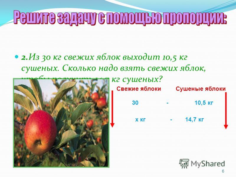 2.Из 30 кг свежих яблок выходит 10,5 кг сушеных. Сколько надо взять свежих яблок, чтобы получить 14,7 кг сушеных? 6 Свежие яблоки Сушеные яблоки 30 - 10,5 кг х кг - 14,7 кг