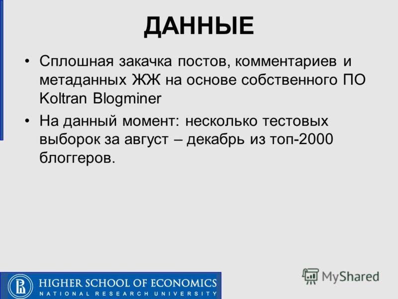 ДАННЫЕ Сплошная закачка постов, комментариев и метаданных ЖЖ на основе собственного ПО Koltran Blogminer На данный момент: несколько тестовых выборок за август – декабрь из топ-2000 блоггеров.