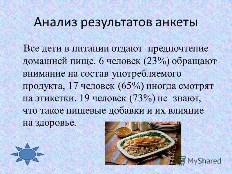 Анализ результатов анкеты Все дети в питании отдают предпочтение домашней пище. 6 человек (23%) обращают внимание на состав употребляемого продукта, 17 человек (65%) иногда смотрят на этикетки. 19 человек (73%) не знают, что такое пищевые добавки и и