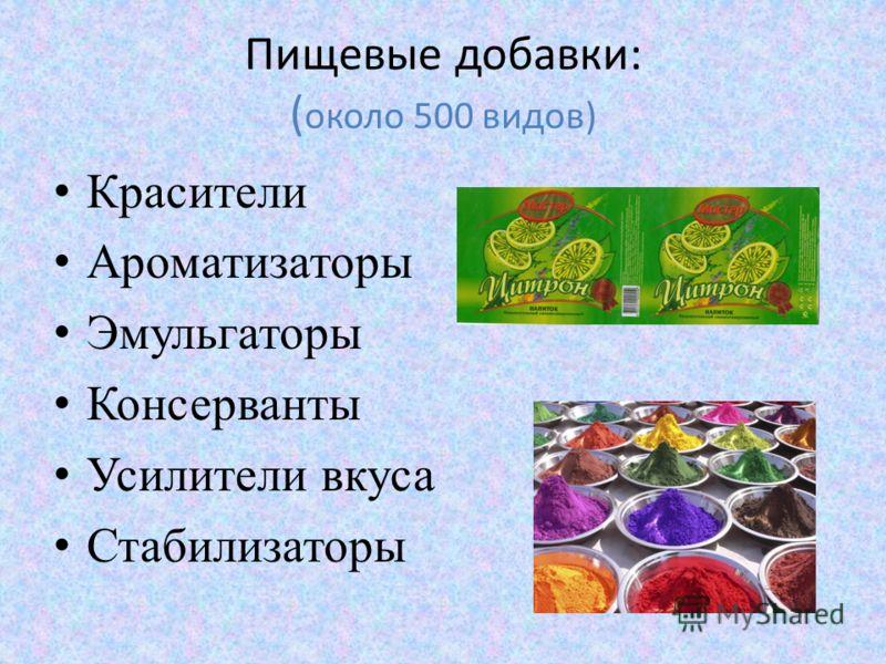 Пищевые добавки: ( около 500 видов) Красители Ароматизаторы Эмульгаторы Консерванты Усилители вкуса Стабилизаторы