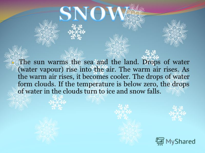 Твердые осадки, выпадающие при отрицательной температуре воздуха, в виде снежинок, непрозрачных палочек, крупинок. Выпадает из слоисто-дождевых (Ns) или высокослоистых облаков (As).