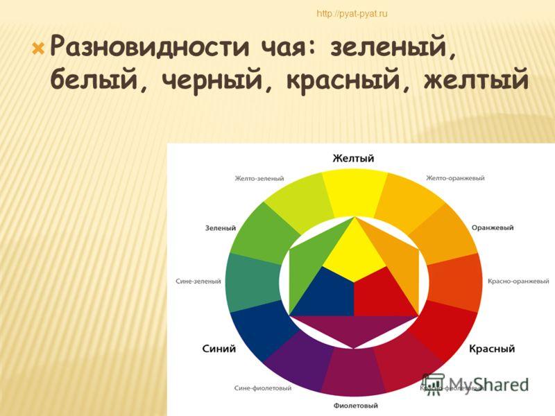 Разновидности чая: зеленый, белый, черный, красный, желтый http://pyat-pyat.ru