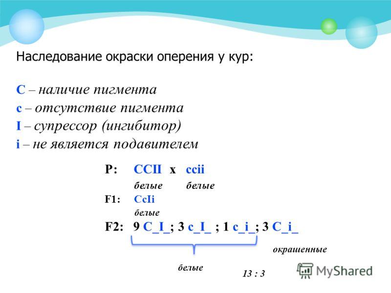 Наследование окраски оперения у кур: С – наличие пигмента с – отсутствие пигмента I – супрессор (ингибитор) i – не является подавителем Р: CCII х ccii белые белые F1: CcIi белые F2: 9 С_I_; 3 c_I_ ; 1 c_i_; 3 C_i_ белые окрашенные 13 : 3