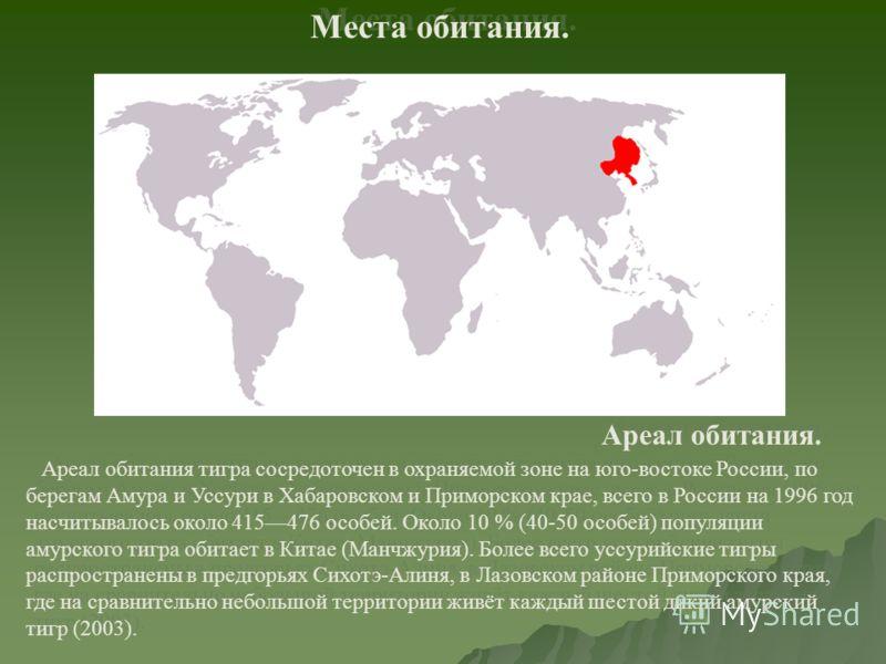 Места обитания. Ареал обитания. Ареал обитания тигра сосредоточен в охраняемой зоне на юго-востоке России, по берегам Амура и Уссури в Хабаровском и Приморском крае, всего в России на 1996 год насчитывалось около 415476 особей. Около 10 % (40-50 особ