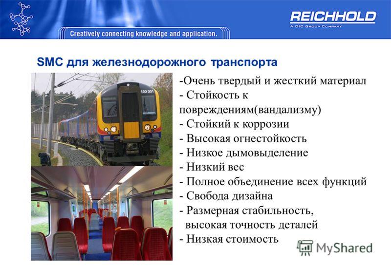 SMC для железнодорожного транспорта -Очень твердый и жесткий материал - Стойкость к повреждениям(вандализму) - Стойкий к коррозии - Высокая огнестойкость - Низкое дымовыделение - Низкий вес - Полное объединение всех функций - Свобода дизайна - Размер