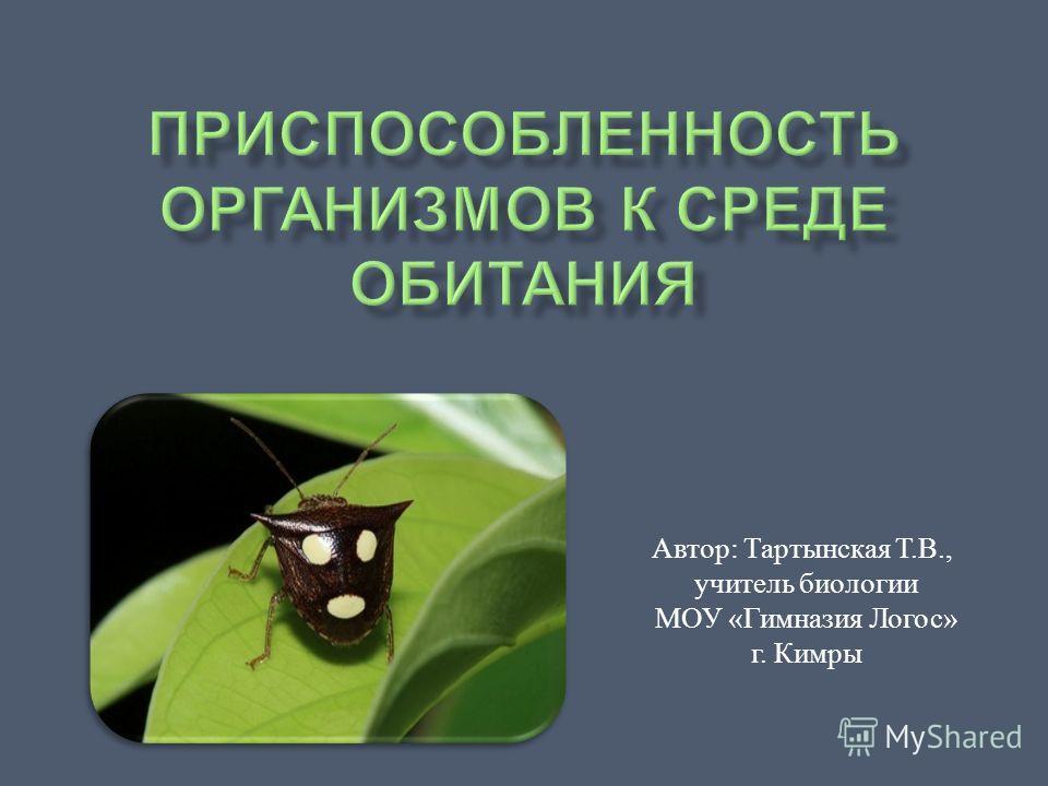 Автор : Тартынская Т. В., учитель биологии МОУ « Гимназия Логос » г. Кимры
