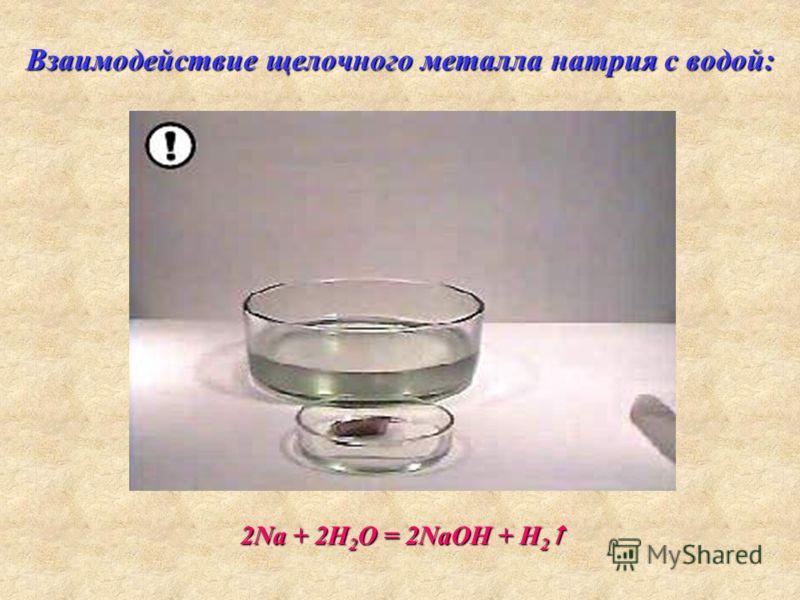 Взаимодействие щелочного металла натрия с водой: 2Na + 2H 2 O = 2NaOH + H 2 2Na + 2H 2 O = 2NaOH + H 2