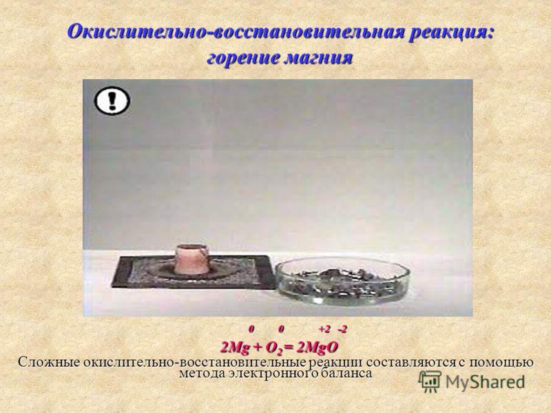 Окислительно-восстановительная реакция: горение магния Сложные окислительно-восстановительные реакции составляются с помощью метода электронного баланса 0 0 +2 -2 0 0 +2 -2 2Мg + O 2 = 2MgO