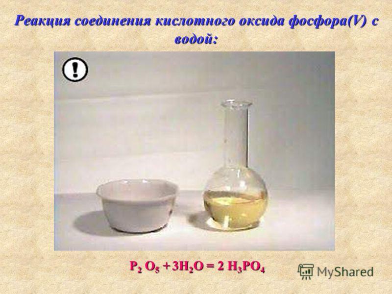Реакция соединения кислотного оксида фосфора(V) с водой: Р 2 О 5 + 3H 2 O = 2 H 3 PO 4