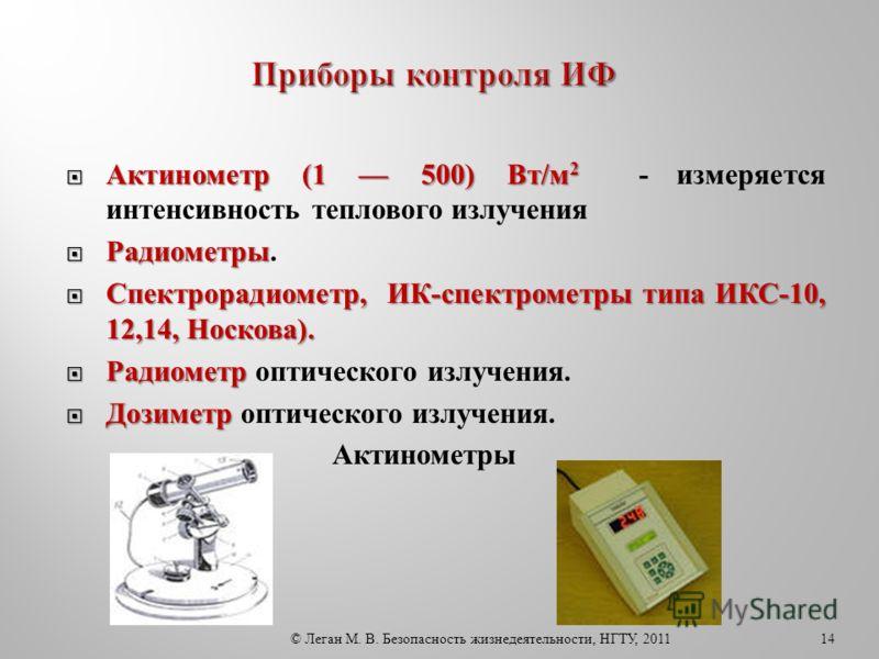 Актинометр (1 500) Вт/м 2 Актинометр (1 500) Вт/м 2 - измеряется интенсивность теплового излучения Радиометры Радиометры. Спектрорадиометр, ИК-спектрометры типа ИКС-10, 12,14, Носкова). Спектрорадиометр, ИК-спектрометры типа ИКС-10, 12,14, Носкова).