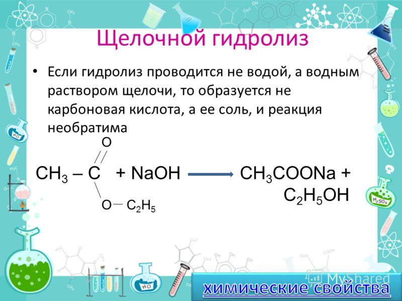 Гидролиз Гидролиз (от греч. -вода и разложение) – это разложение вещества водой; гидролиз сложных эфиров – реакция, обратная этерификации