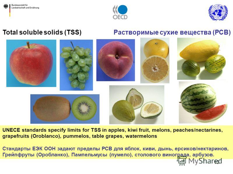 10 UNECE standards specify limits for TSS in apples, kiwi fruit, melons, peaches/nectarines, grapefruits (Oroblanco), pummelos, table grapes, watermelons Стандарты ЕЭК ООН задают пределы РСВ для яблок, киви, дынь, ерсиков/нектаринов, Грейпфруты (Ороб