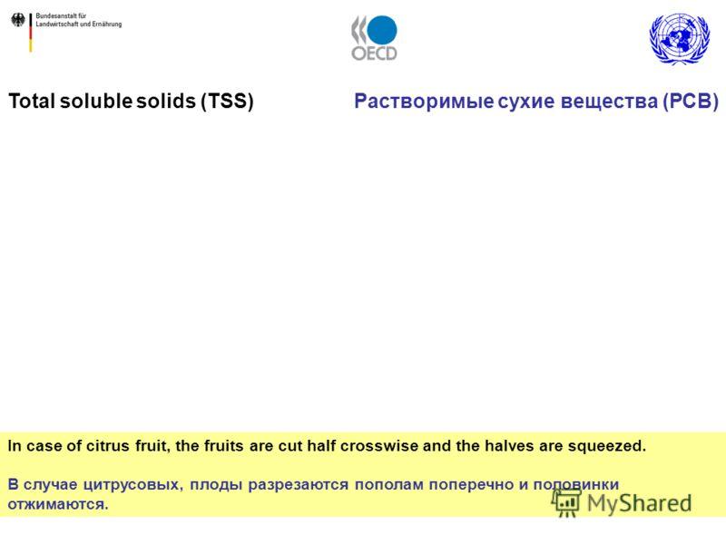 16 In case of citrus fruit, the fruits are cut half crosswise and the halves are squeezed. В случае цитрусовых, плоды разрезаются пополам поперечно и половинки отжимаются. Total soluble solids (TSS)Растворимые сухие вещества (РСВ)