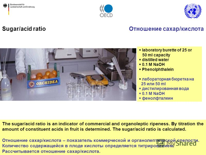 23 The sugar/acid ratio is an indicator of commercial and organoleptic ripeness. By titration the amount of constituent acids in fruit is determined. The sugar/acid ratio is calculated. Отношение сахар/кислота – показатель коммерческой и органолептич