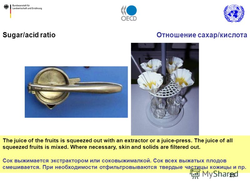 25 Sugar/acid ratio The juice of the fruits is squeezed out with an extractor or a juice-press. The juice of all squeezed fruits is mixed. Where necessary, skin and solids are filtered out. Сок выжимается экстрактором или соковыжималкой. Сок всех выж