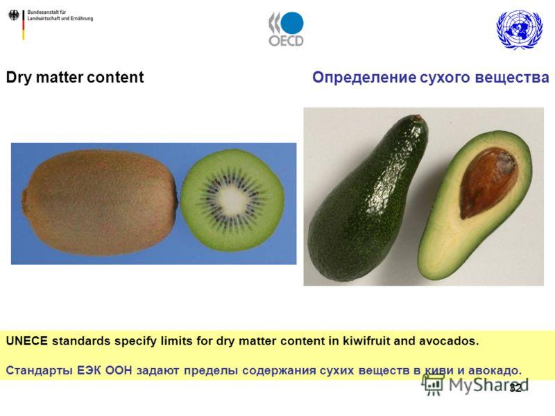 32 Dry matter content UNECE standards specify limits for dry matter content in kiwifruit and avocados. Стандарты ЕЭК ООН задают пределы содержания сухих веществ в киви и авокадо. Определение сухого вещества