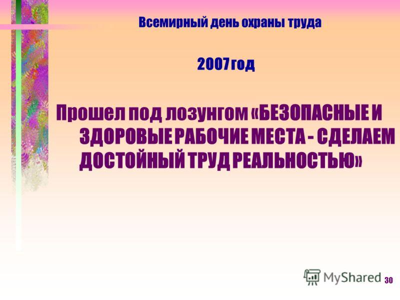 30 2007 год Прошел под лозунгом «БЕЗОПАСНЫЕ И ЗДОРОВЫЕ РАБОЧИЕ МЕСТА - СДЕЛАЕМ ДОСТОЙНЫЙ ТРУД РЕАЛЬНОСТЬЮ» Всемирный день охраны труда
