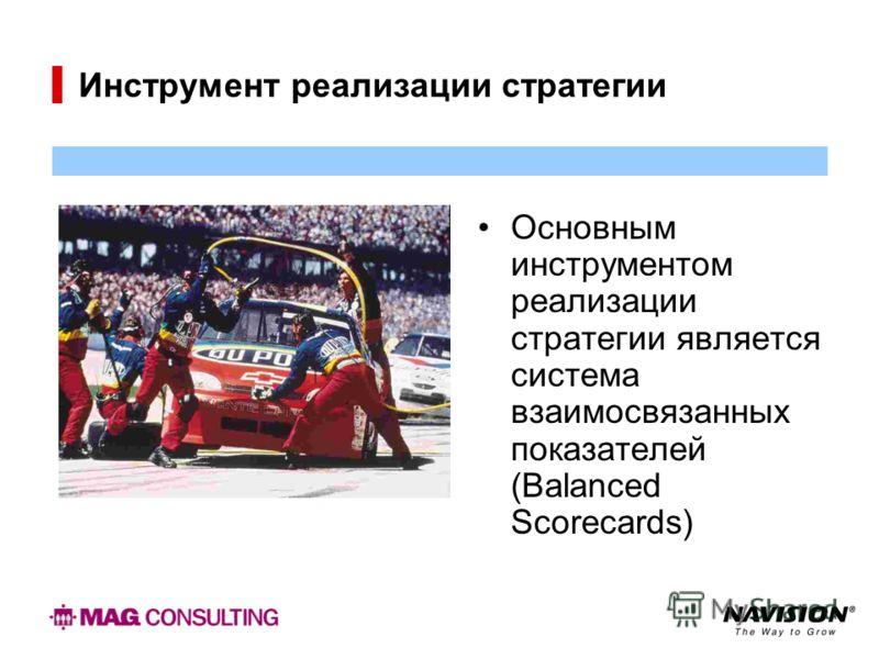 Инструмент реализации стратегии Основным инструментом реализации стратегии является система взаимосвязанных показателей (Balanced Scorecards)