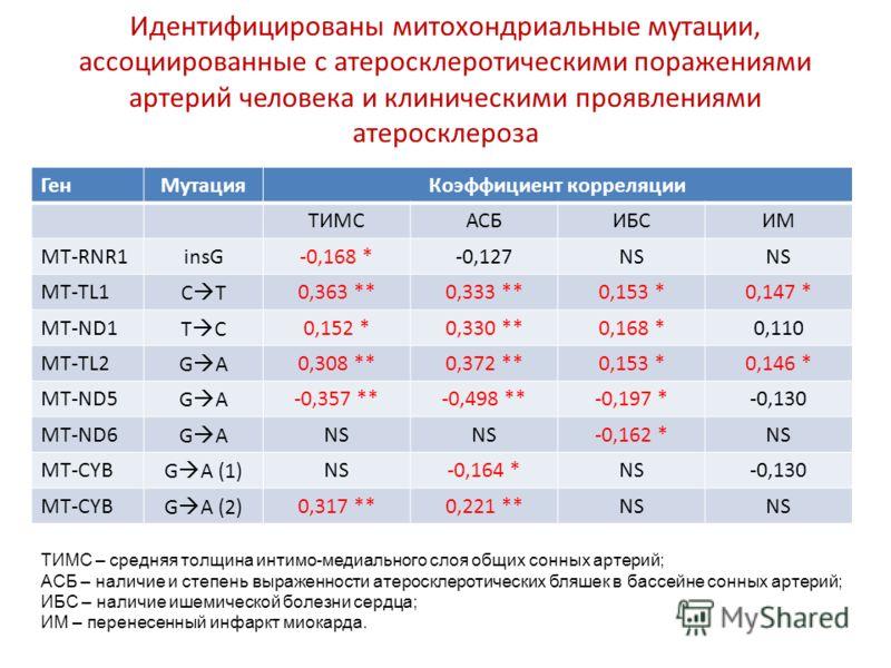 Идентифицированы митохондриальные мутации, ассоциированные с атеросклеротическими поражениями артерий человека и клиническими проявлениями атеросклероза ГенМутацияКоэффициент корреляции ТИМСАСБИБСИМ MT-RNR1insG-0,168 *-0,127NS MT-TL1C T0,363 **0,333