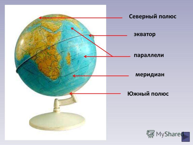 Северный полюс экватор параллели меридиан Южный полюс