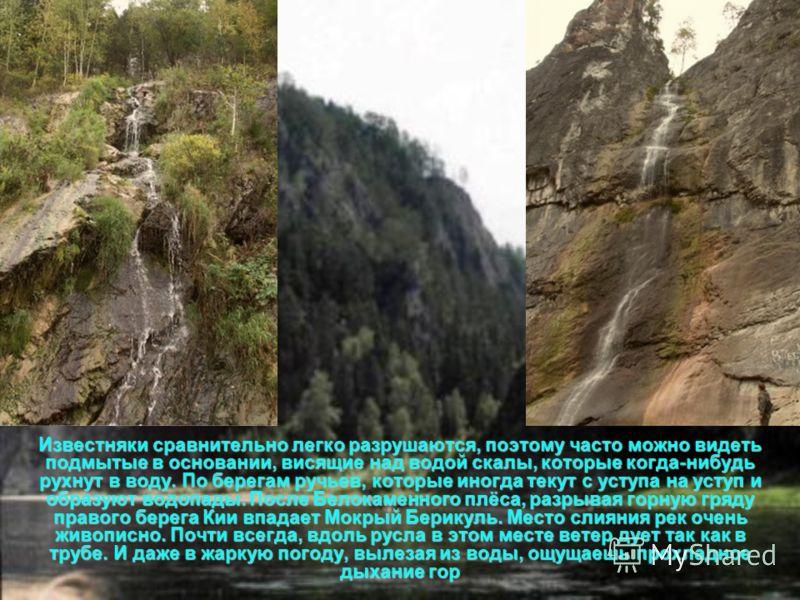 Известняки сравнительно легко разрушаются, поэтому часто можно видеть подмытые в основании, висящие над водой скалы, которые когда-нибудь рухнут в воду. По берегам ручьев, которые иногда текут с уступа на уступ и образуют водопады. После Белокаменног