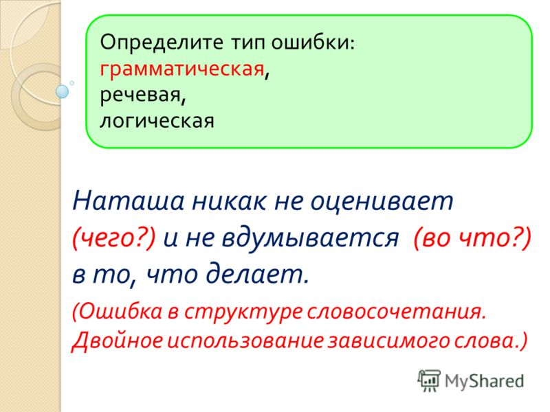 Определите тип ошибки : грамматическая, речевая, логическая Наташа никак не оценивает ( чего ?) и не вдумывается ( во что ?) в то, что делает. ( Ошибка в структуре словосочетания. Двойное использование зависимого слова.)