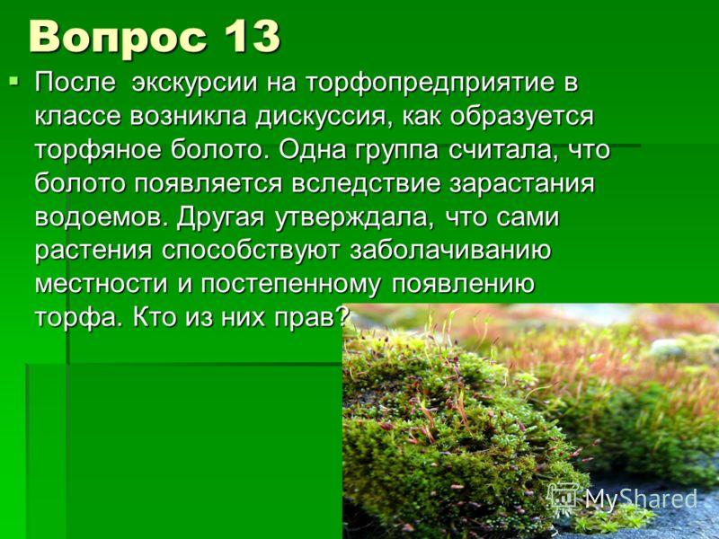 Вопрос 13 После экскурсии на торфопредприятие в классе возникла дискуссия, как образуется торфяное болото. Одна группа считала, что болото появляется вследствие зарастания водоемов. Другая утверждала, что сами растения способствуют заболачиванию мест