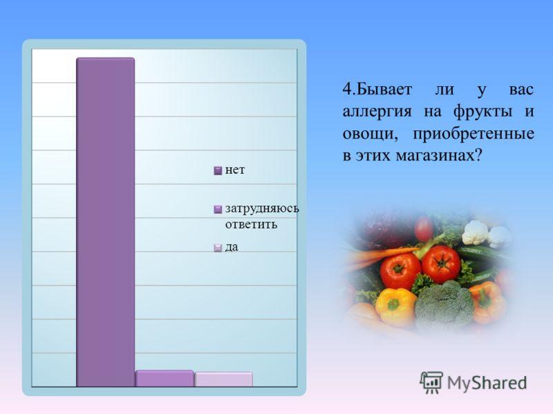 4. Бывает ли у вас аллергия на фрукты и овощи, приобретенные в этих магазинах ?