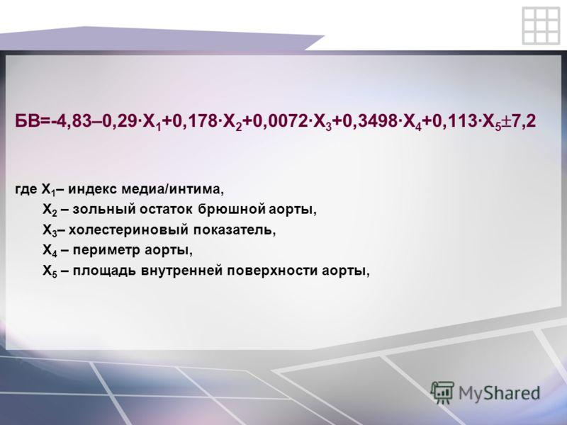 БВ=-4,83–0,29·Х 1 +0,178·Х 2 +0,0072·Х 3 +0,3498·Х 4 +0,113·Х 5 7,2 где Х 1 – индекс медиа/интима, Х 2 – зольный остаток брюшной аорты, Х 3 – холестериновый показатель, Х 4 – периметр аорты, Х 5 – площадь внутренней поверхности аорты,