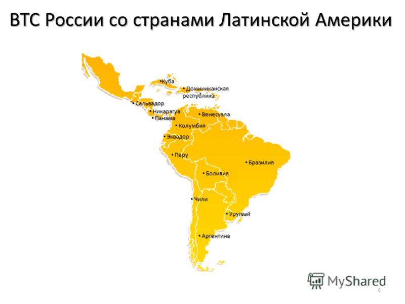 ВТС России со странами Латинской Америки 4 Бразилия Бразилия Боливия Боливия Аргентина Аргентина Куба Куба Доминиканская республика Доминиканская республика Венесуэла Венесуэла Колумбия Колумбия Эквадор Эквадор Перу Перу Уругвай Уругвай Чили Чили Сал