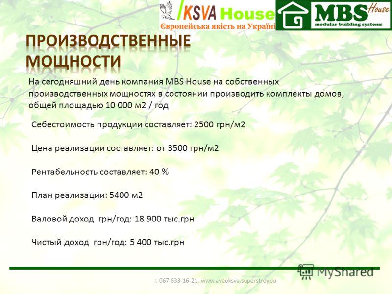 На сегодняшний день компания MBS House на собственных производственных мощностях в состоянии производить комплекты домов, общей площадью 10 000 м2 / год Себестоимость продукции составляет: 2500 грн/м2 Цена реализации составляет: от 3500 грн/м2 Рентаб