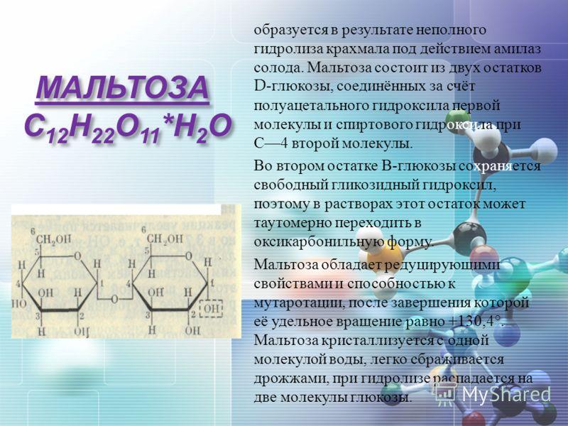 МАЛЬТОЗА С 12 Н 22 О 11 * Н 2 О образуется в результате неполного гидролиза крахмала под действием амилаз солода. Мальтоза состоит из двух остатков D- глюкозы, соединённых за счёт полуацетального гидроксила первой молекулы и спиртового гидроксила при