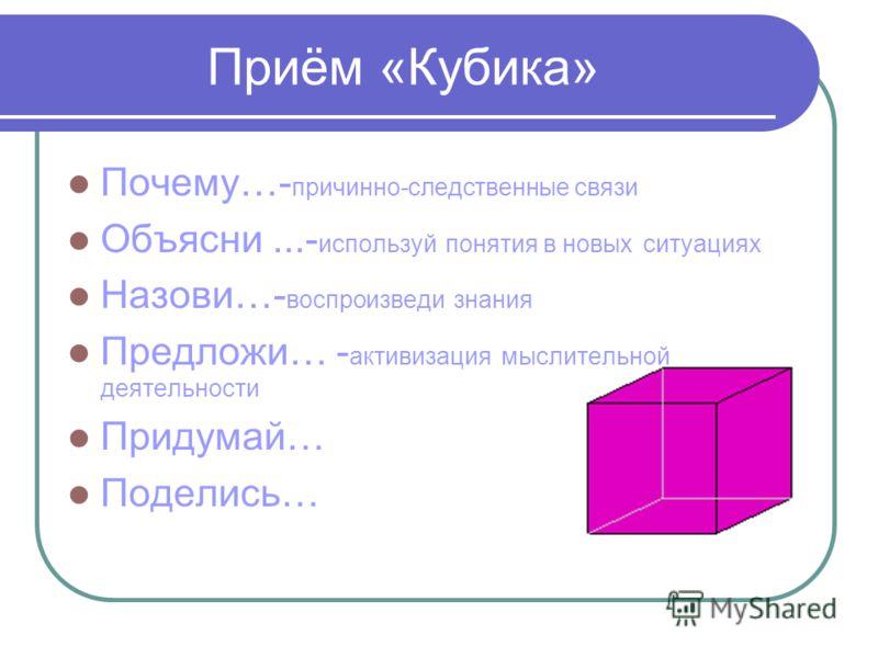 Приём «Кубика» Почему…- причинно-следственные связи Объясни...- используй понятия в новых ситуациях Назови…- воспроизведи знания Предложи… - активизация мыслительной деятельности Придумай… Поделись…