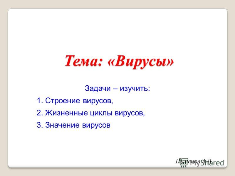 Тема: «Вирусы» Задачи – изучить: 1. Строение вирусов, 2. Жизненные циклы вирусов, 3. Значение вирусов Пименов А.В.