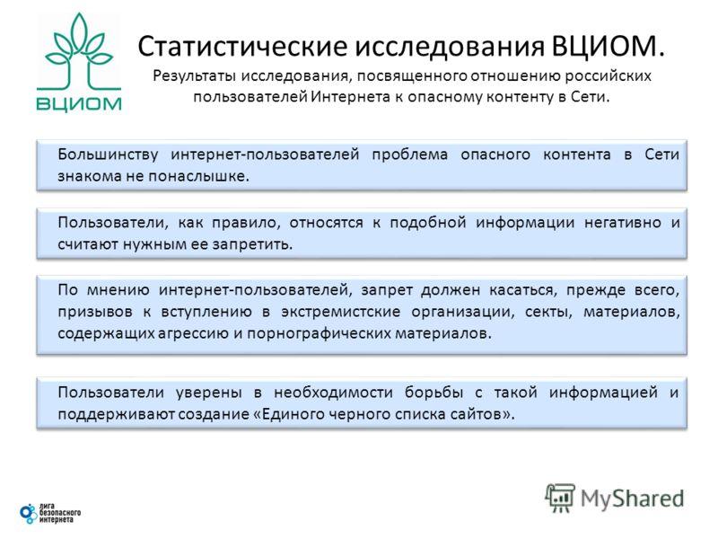 Статистические исследования ВЦИОМ. Результаты исследования, посвященного отношению российских пользователей Интернета к опасному контенту в Сети. Большинству интернет-пользователей проблема опасного контента в Сети знакома не понаслышке. Пользователи