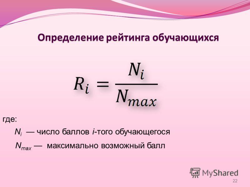 Определение рейтинга обучающихся где: N i число баллов i-того обучающегося N max максимально возможный балл 22