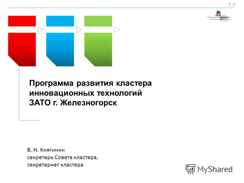 Программа развития кластера инновационных технологий ЗАТО г. Железногорск 1 > В. Н. Княгинин секретарь Совета кластера, секретариат кластера