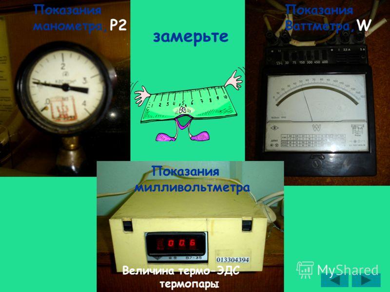 замерьте Показания манометра, P2 Показания Ваттметра, W Показания милливольтметра Величина термо-ЭДС термопары
