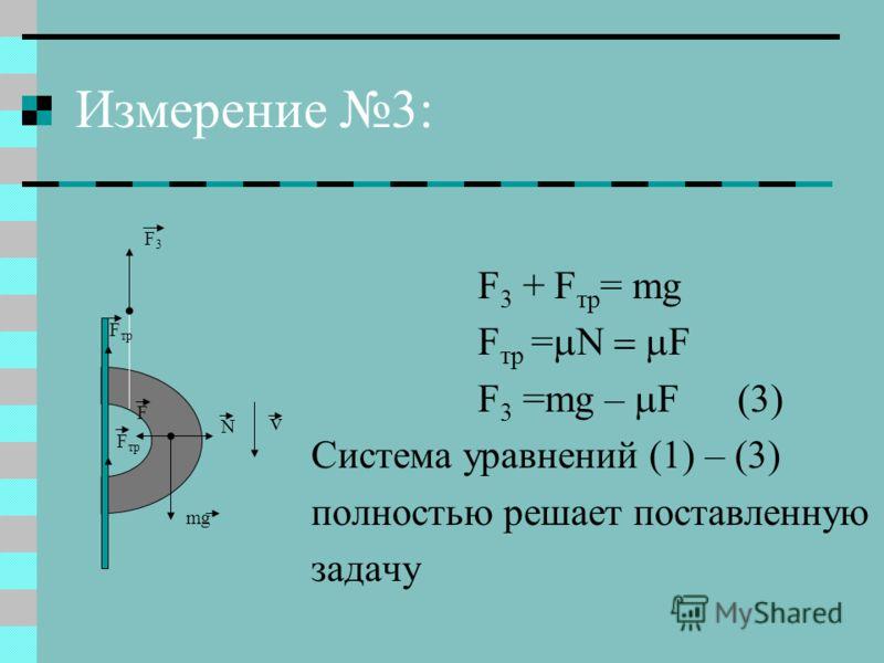 Измерение 3: F 3 + F тр = mg F тр = F F 3 =mg – F (3) Система уравнений (1) – (3) полностью решает поставленную задачу F3F3 F тр mg F N v